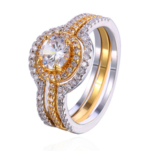 Two Tone Color Ring Set Semi Eternity Micro Pave Setting Clear Round Cubic Zirconia 3 Piece Rings for Women Dropshipping SJZY01
