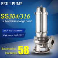 WQP 1.1KW submersible sewage pump with channel impeller stainless steel sump pumps drainage sump