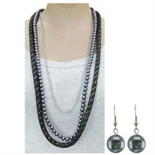 Fashoin Black Pearl Long Necklace Set