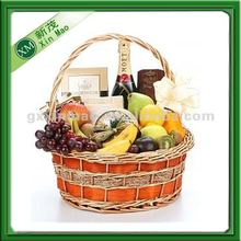 handmade colorful wicker wooden basket for fruit storage