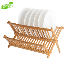 Wholesale High Quality Solid BAMBOO 2 tier floding dish rack dish drainer rack