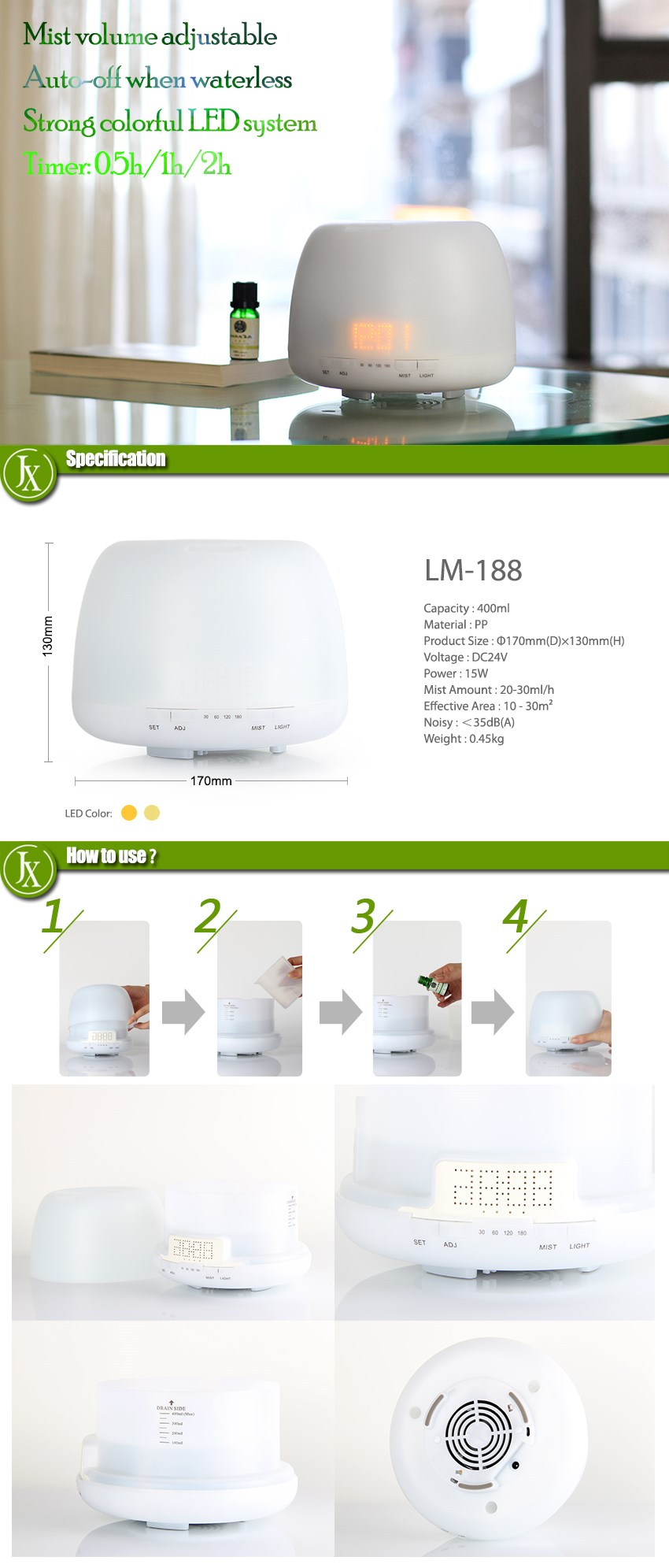 JX DIFFUSER electric air freshener aromatherapy diffuser electric ultrasonic aroma diffuser with alarm and clock&timer