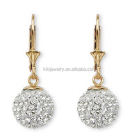 Fancy round crystal 10k gold ball drop earrings for girls
