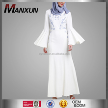 Fashion Embriodery Long Sleeve Maxi Dress High Quality Elegant White Dubai Abaya 2017 Turkish Abaya Jilbab Islamic Clothing