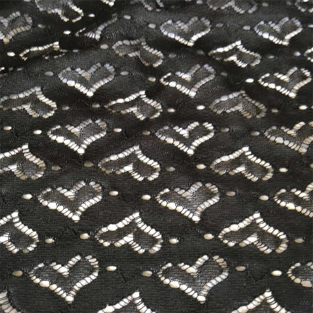 Fancy Heart Design Nylon Spandex Lace Fabric Ready Goods