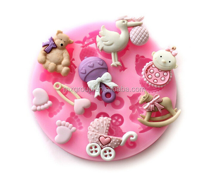 Cute Baby Feet shower Fondant Gum Paste Silicone Resin Candy Moulds Cake Decoration silicone molds