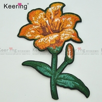 orange embroidery flower design applique for jeans clothes WEF-123