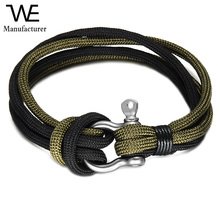 Soldier Tool Survive Design Horseshoe Shape Clasp Jewelry Polyester Rope Bracelet