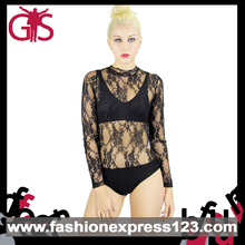 2015 Newest Black Long Sleeve Lace Leotards