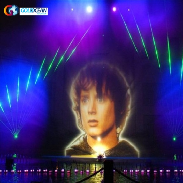 water screen movie with funny face for water fountain show and led lights