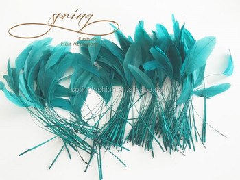 Millinery feathers,feathers,teal stripped coque feather ,feather decoration in size 6-8''