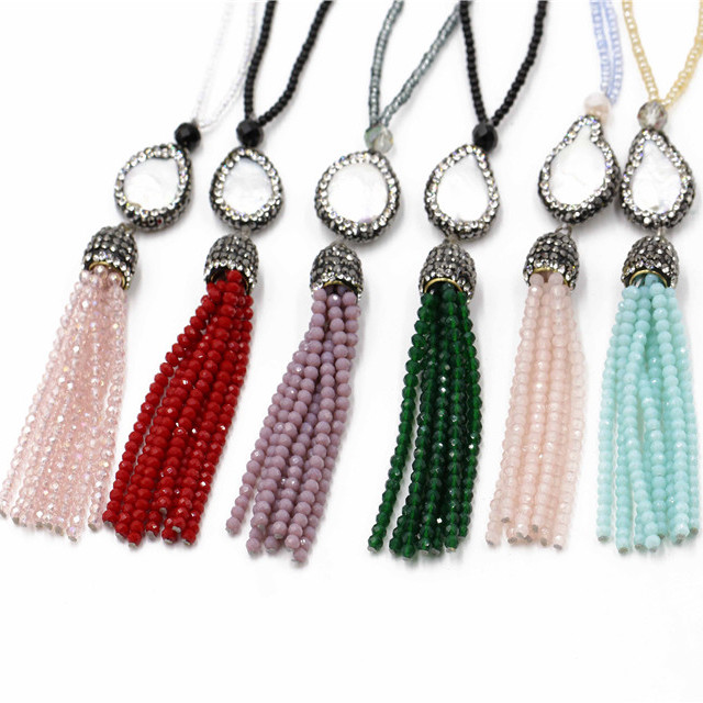 Hot new products handmade crystal bead tassel necklace with buddha,pearl charm