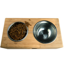 Custom wholesale promotional bamboo,stainless steel pet feeder pet feeder wood elevated dog bowls