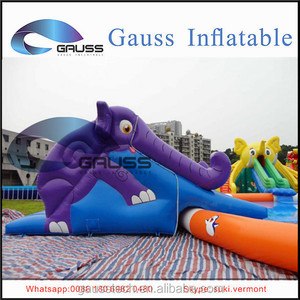 Purple elephant inflatable large slide with swimming pool