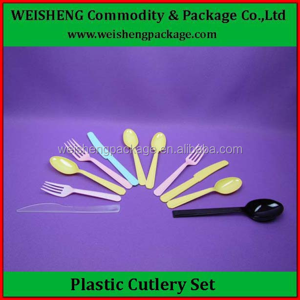 Colors Disposable biodegradable PS plastic cutlery set spoon knife fork,plastic picnic sets