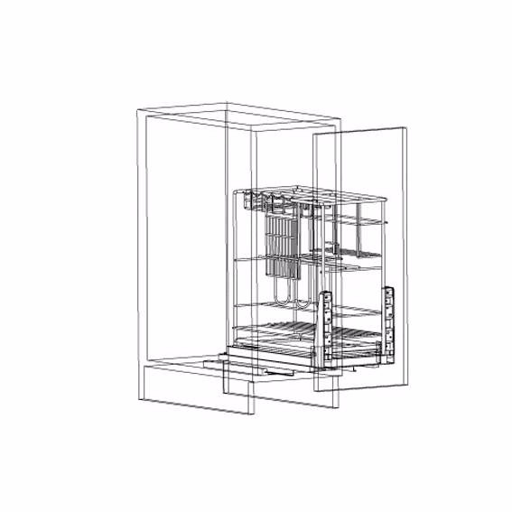 Pull out stainless steel kitchen rack