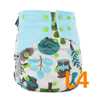 Square Custom Print Design New Born Baby Resuable Leak Guard Adjustable Snaps Cloth Diaper Nappy