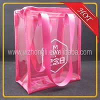 Fashion Pink transparent plastic pvc cosmetic bag with zipper