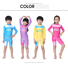 DIVE&SAIL Kids Long Sleeve Rashguard Children Swimwear Surfing Top and Shorts Set Snorkeling Floatsuit Boys Girls Diving Suit
