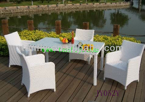 JY9052Y White rattan Luxury Dining room set/New Outdoor Wicker Furniture