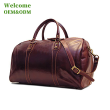 KID duffel brown genuine leather big capacity travel sport custom gym bag