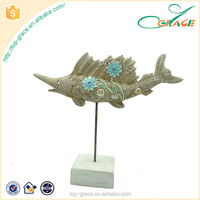 Home Ornament0 - Fake Stone flower fish - Hand Painted Poly Resin.