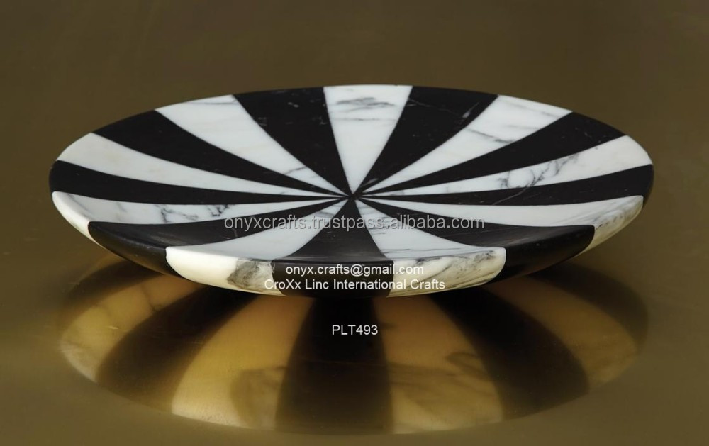 Black and White Patch Marble Plate
