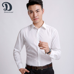 white Formal style slim fit dress solid color design 100% men cotton shirts
