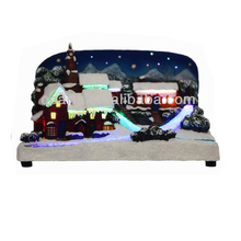 Christmas village scene with fiber lighting & Music resin craft