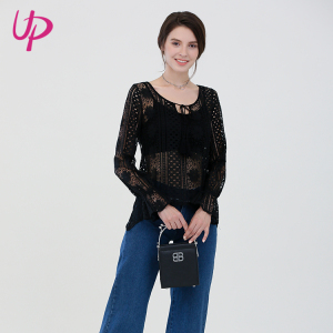 Casual Fashion Young Ladies Lace Embroidery Mesh Blouse Tops Long Sleeve