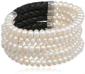 Freshwater Cultured Pearl and Leather Stretch Cuff Bracelet