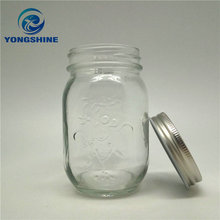 500ml carving glass food jar with metal lids