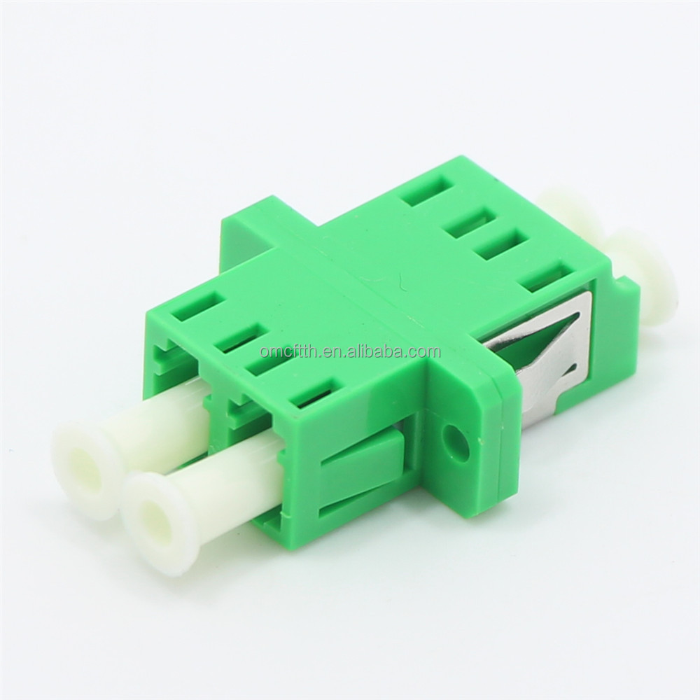 High quality China made LC APC DX fiber optic adapter with metal and plastic sheet and window