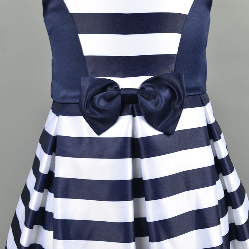 striped girls boutique dress beautiful high quality child party dress elegant children first communion dresses