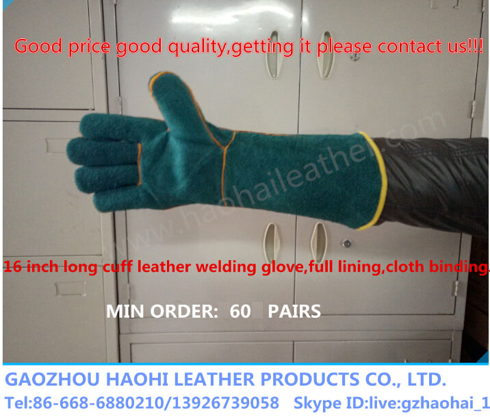 cow split leather welding glove industry working protect hand safety glove