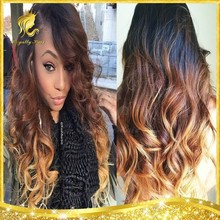 2015 Hair Styling Ombre Three Tone Color Body Wave Brazilian Virgin Human Hair Full Lace Wig for black women
