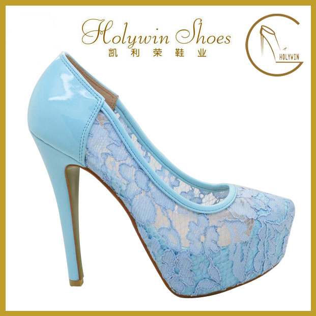 2015 Latest beautiful royal blue frozen elsa anna high heel shoes