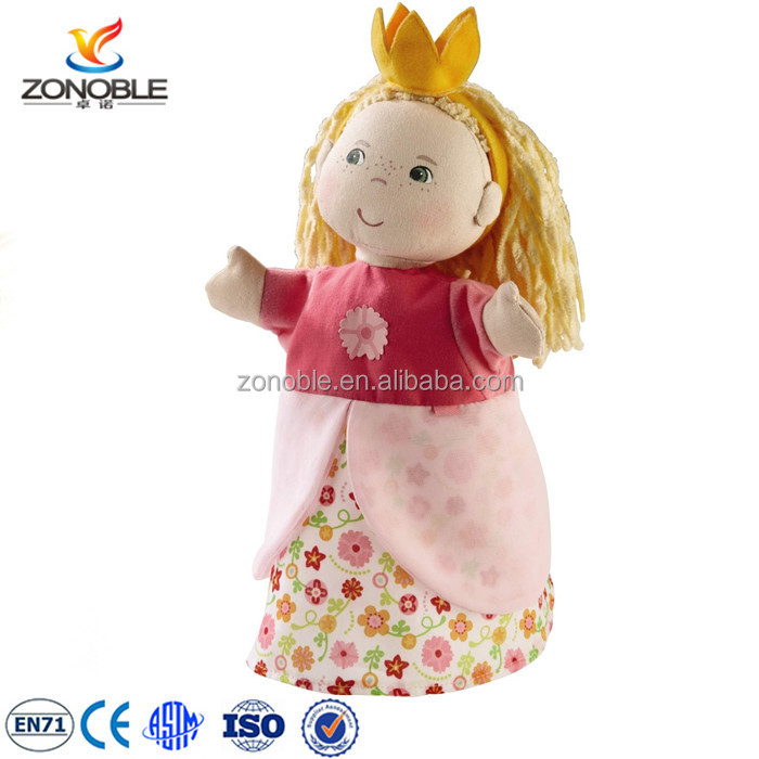 Lovely design stuffed kids puppet theater toys cute soft cheap plush puppet doll