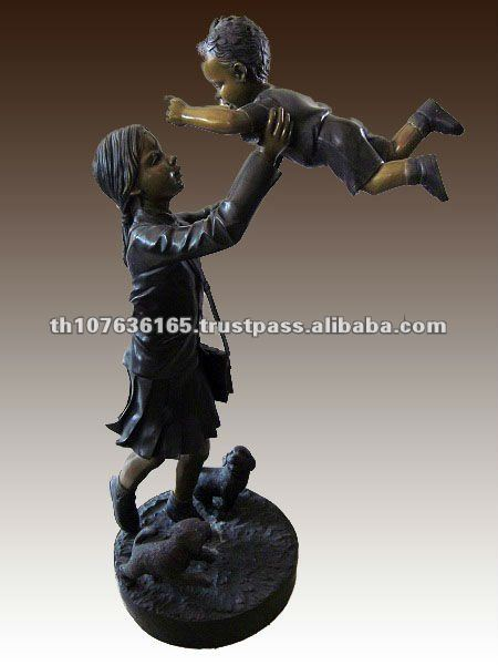 Bronze mother and baby sculpture