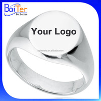 Custom Logo Engraved Blank Stainless Steel Men's Signet Ring Wholesale
