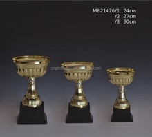 Wholesale flower shaped big cup with real gold plating award metal trophy cup