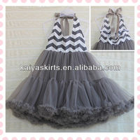 Fashion Gray Chevron Backless Halter Dress for 2-8 Years Girls