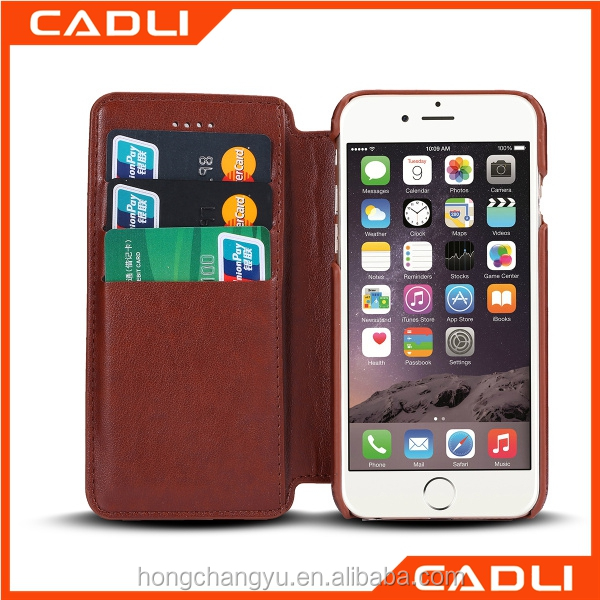 PU Leather cell mobile phone accessories case display stand for iPhone 6S