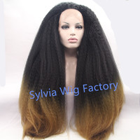 Hot sales Fashional afro kinky straight wig black to brown 2T ombre synthetic lace front wigs heat resistant fiber