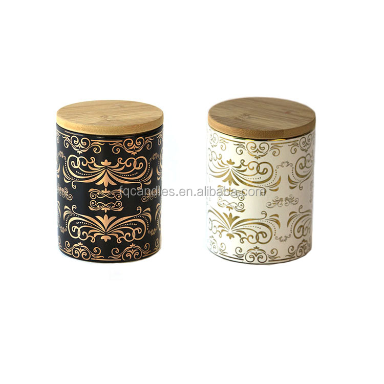 Modern Looking Real Gold Decal Ceramic Candle Jars With Wood Lids