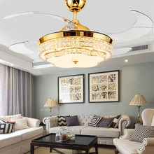 110V 220V modern remote control luxury crystal LED invisible ceiling fan with light