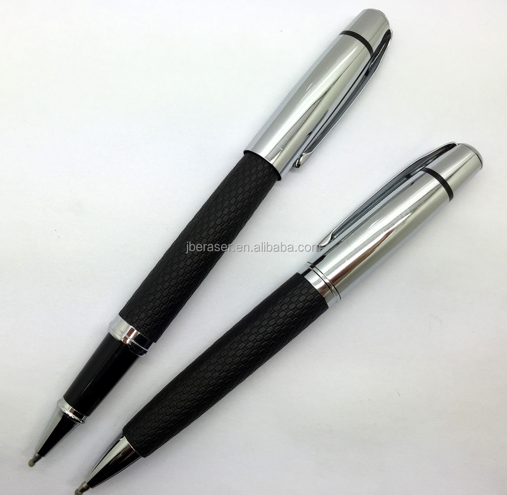 golden color leather metal advertising logo pen