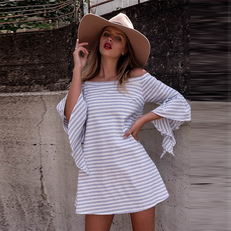 F20239A High quality lady stripe dress cotton design off shoulder cut out short ruffles sleeve dress for women