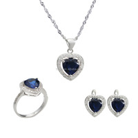 Elegant 925 silver micro pave heart shape princess jewelry set wholesale