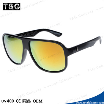 Oversize sungalsses with plastic frame mirror lens China supplier hot selling in market custom-made sun glasses